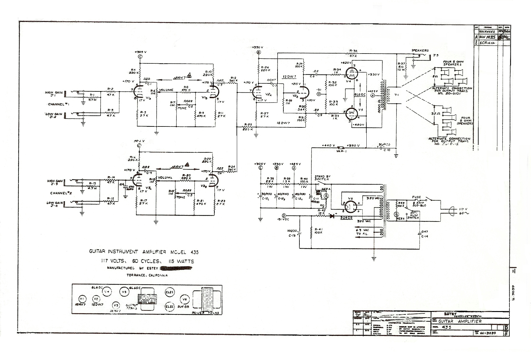 Tube Amp Diagram 1961 1963